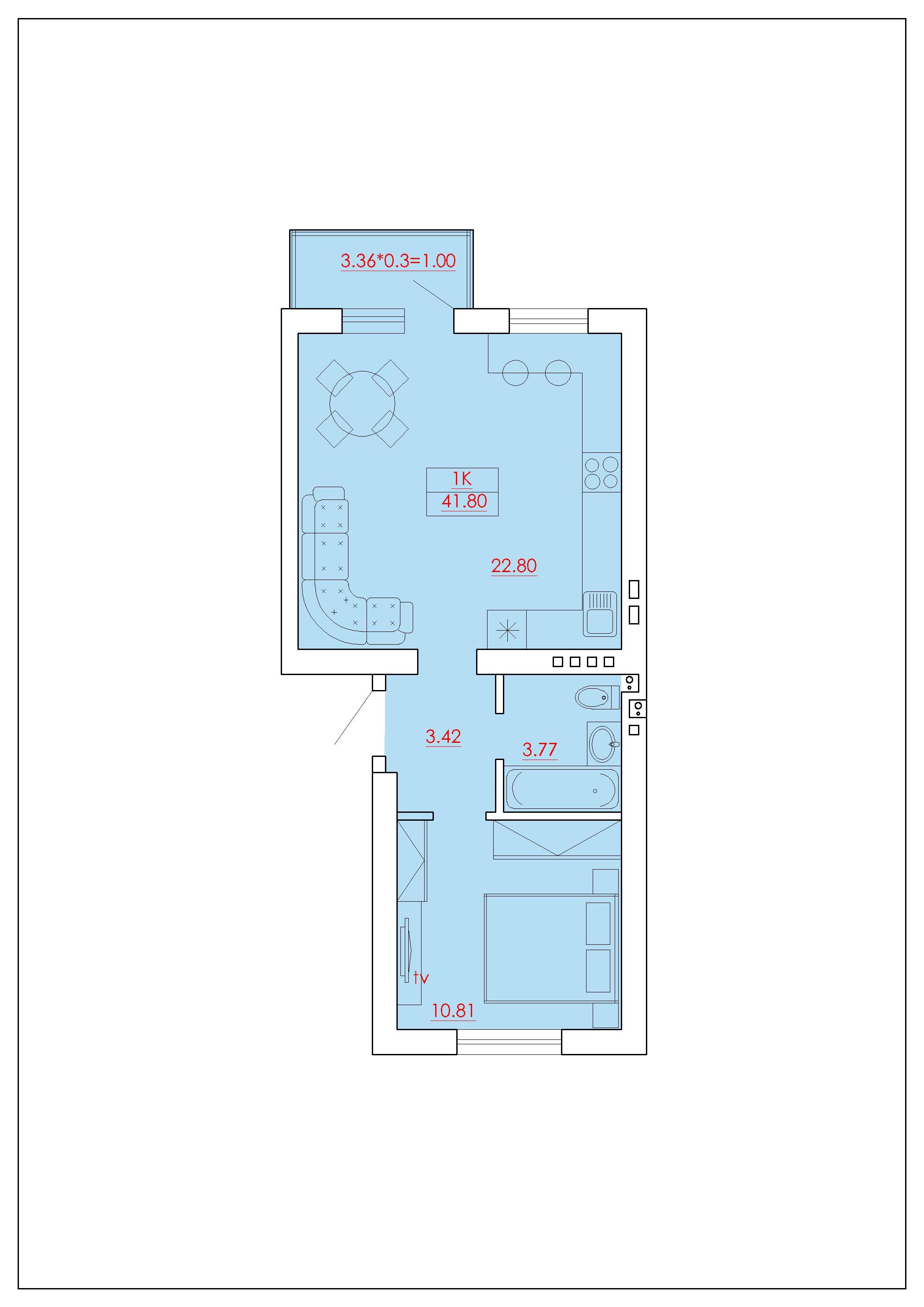 Однокомнатная - ЖК ECO Solaris (Эко Соларис)$26334Площадь:41.8m²