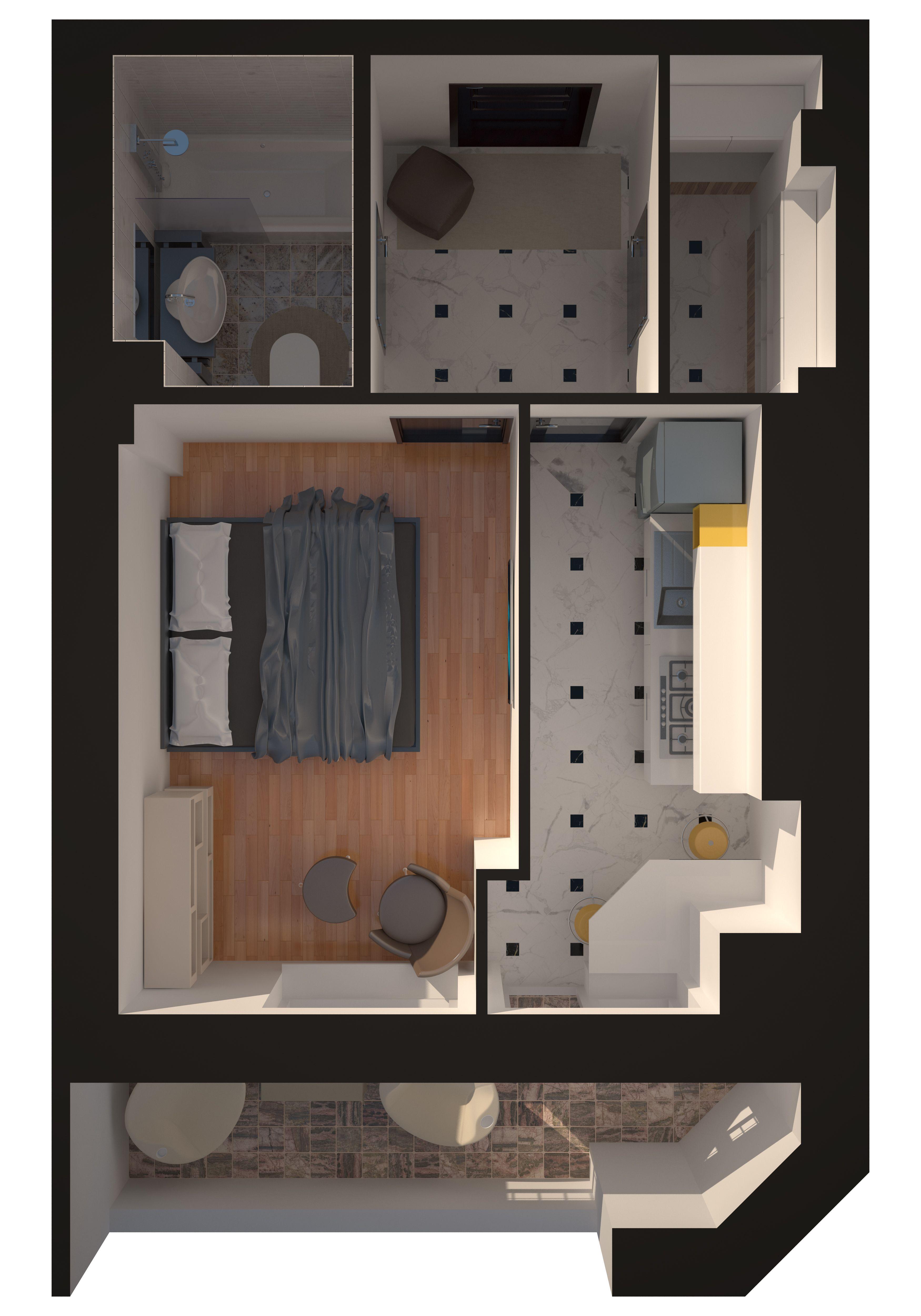Однокомнатная - Зеленый Мыс Английский дом 4$34505Площадь:38.52m²