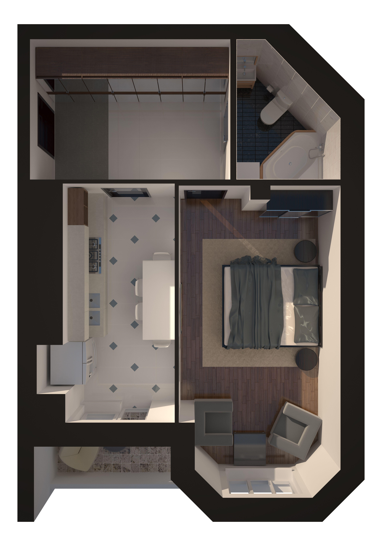 Однокомнатная - Зеленый Мыс Английский дом 4$42961Площадь:50.14m²