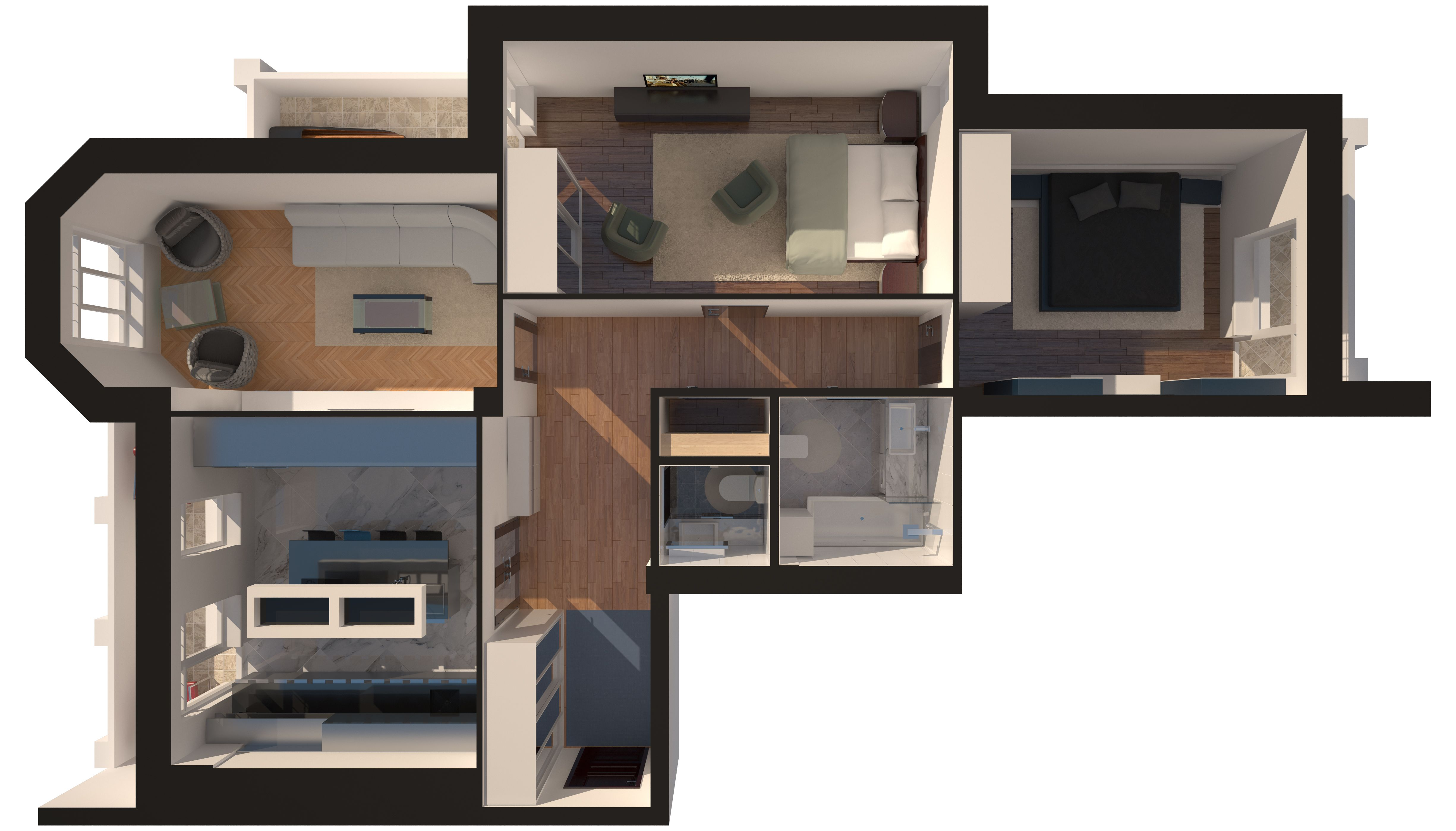 Трехкомнатная - Зеленый Мыс Английский дом 4$93413Площадь:111.93m²