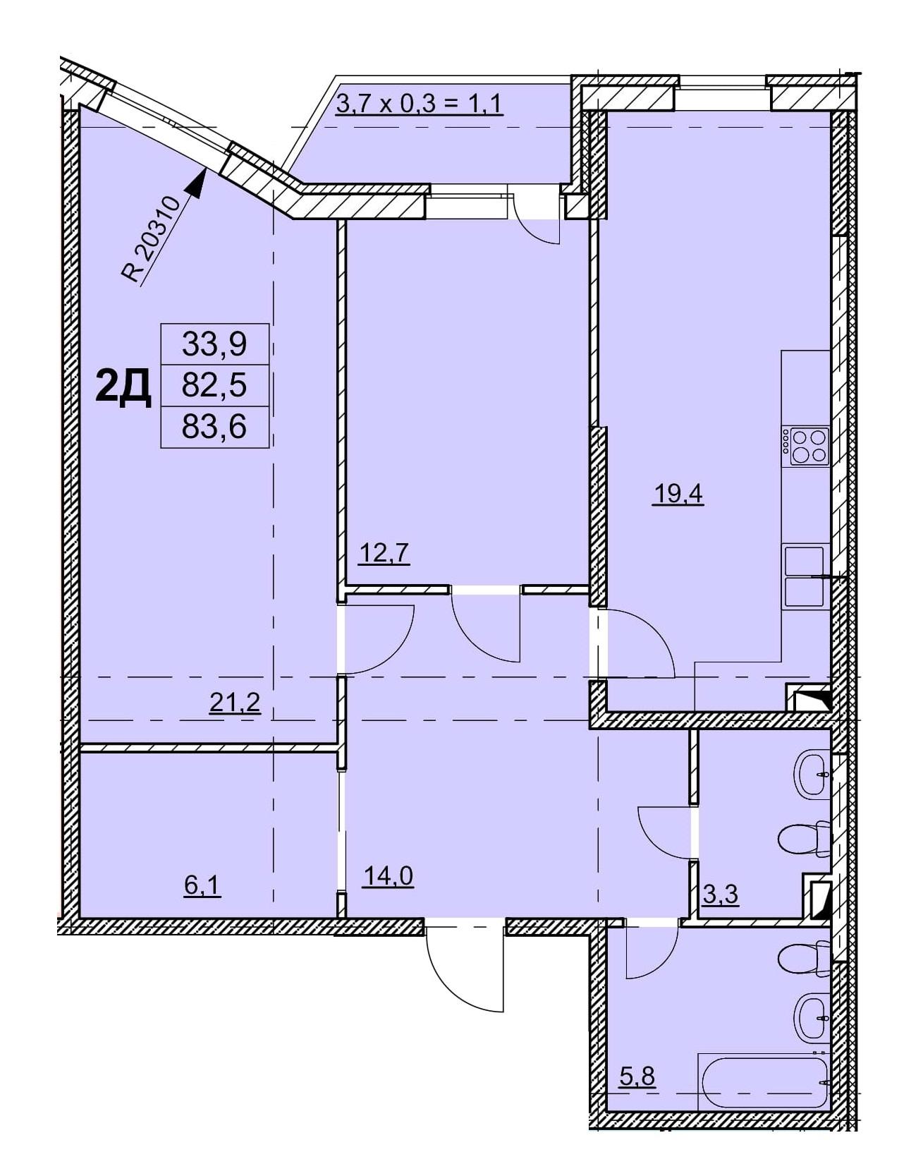 Двухкомнатная - ЖК Гагаринский$95550Площадь:98m²