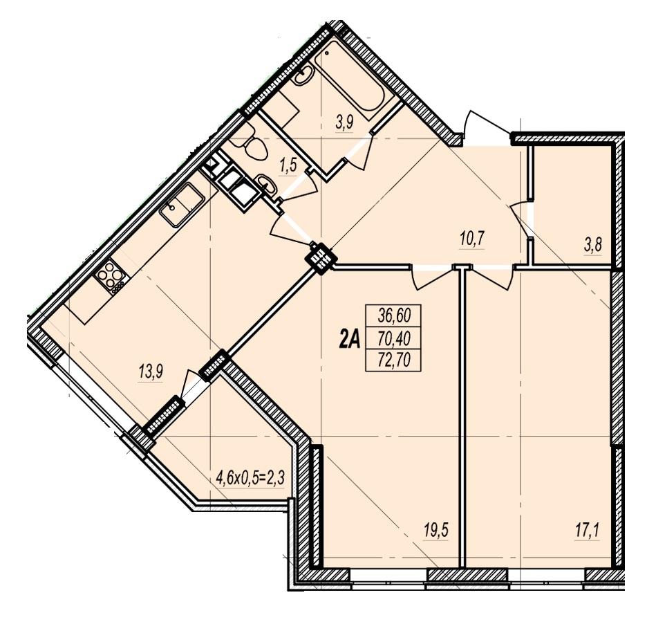 Двухкомнатная - ЖК Дмитриевский$44640Площадь:74.4m²