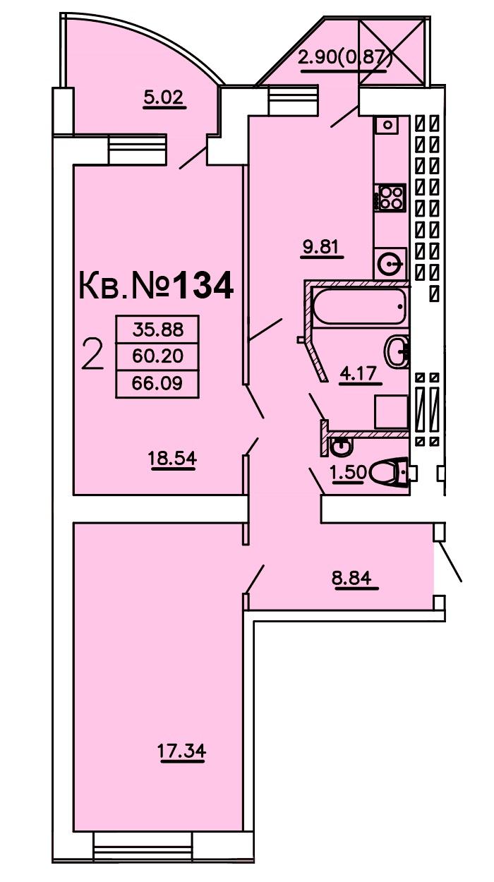 Двухкомнатная - ЖК Теплый дом$31179Площадь:66.09m²
