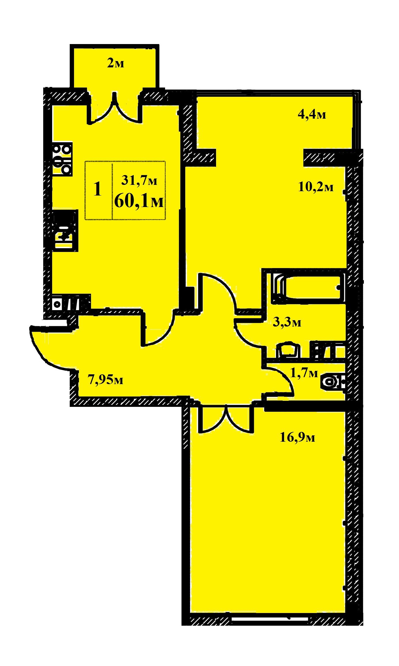 Двухкомнатная - ЖК Якоря$42671Площадь:60.1m²