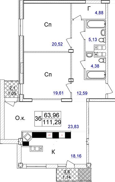 Трехкомнатная - ЖК Ясная поляна 2$183027Площадь:111.67m²