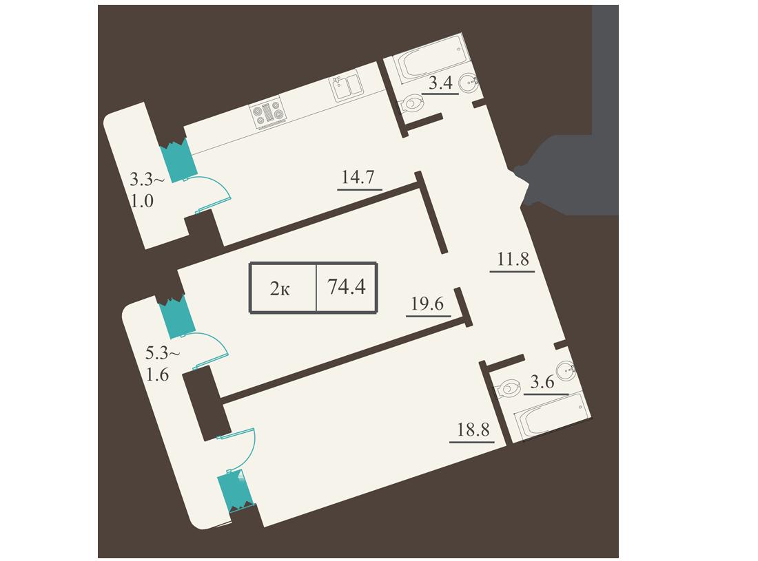 Двухкомнатная - ЖК Французский бульвар, 2$147800Площадь:73.9m²