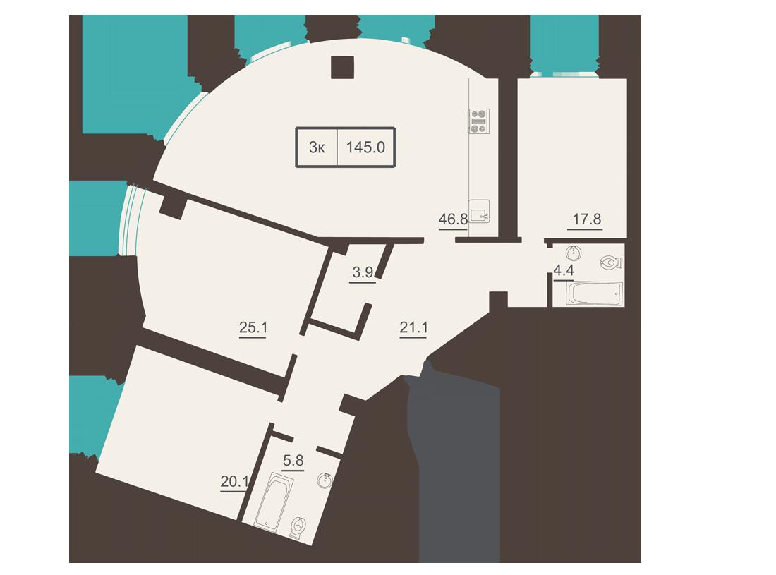 Трехкомнатная - ЖК Французский бульвар, 2$231040Площадь:144.4m²