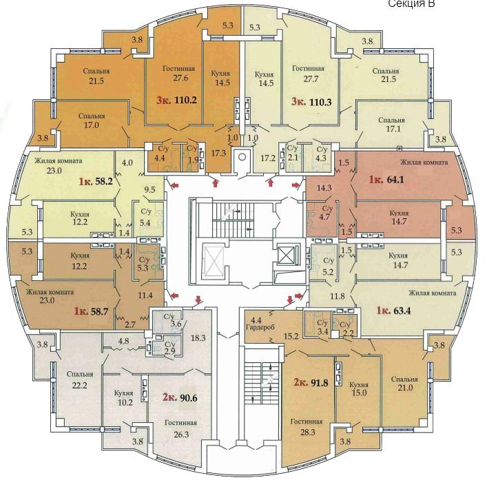ЖК Одиссей план секции В
