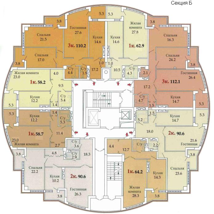 ЖК Одиссей план секции Б