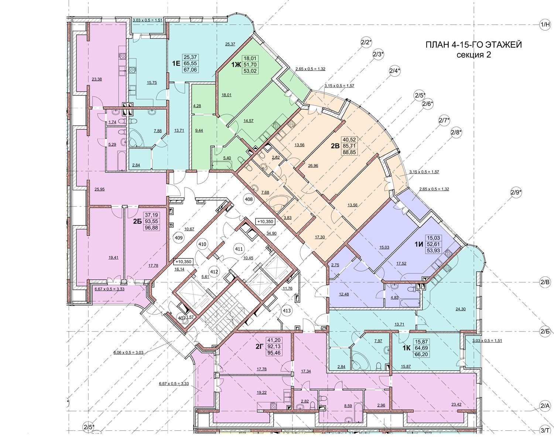 ЖК Гагаринский план 2 секции 4-15 этаж