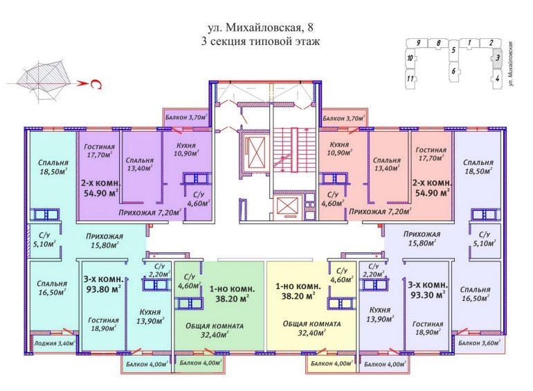 ЖК Михайловский городок планировки 3 секции