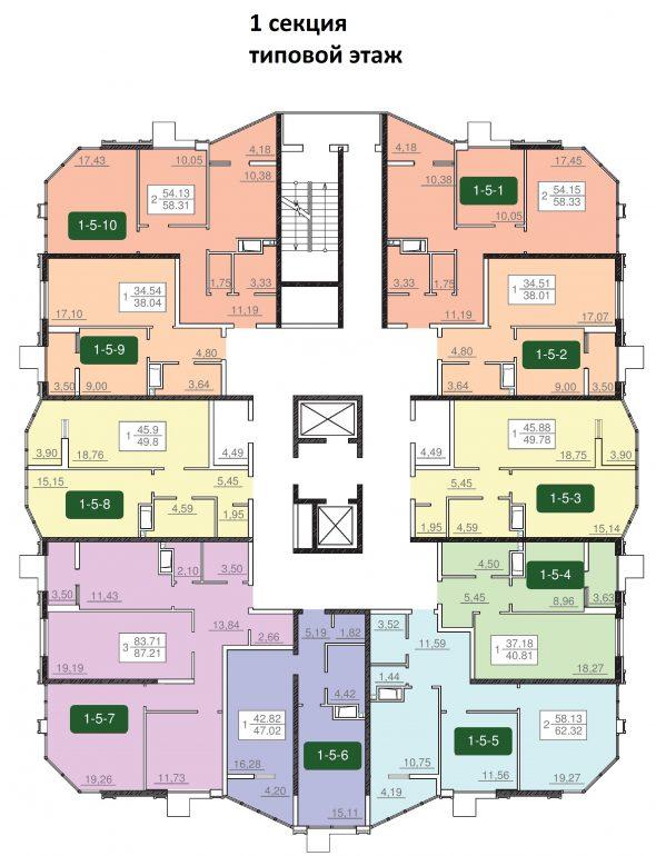 24-я жемчужина планировка этажа 2-12