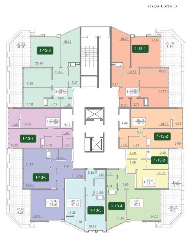 24-я жемчужина планировка этажа 13