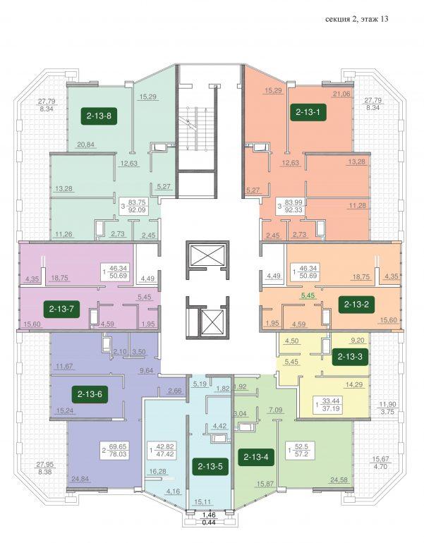 25-я жемчужина планировка этажа 13