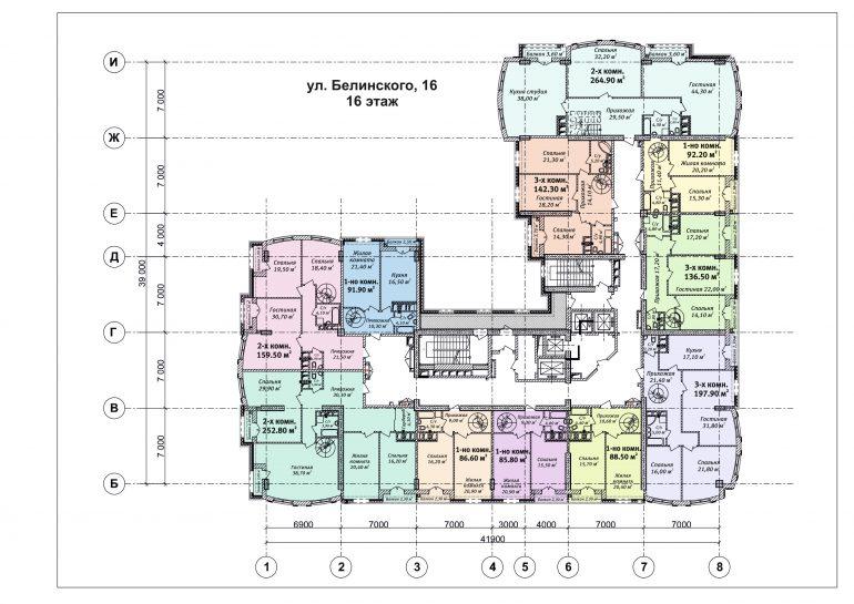 ЖК Бельэтаж план 16 этажа