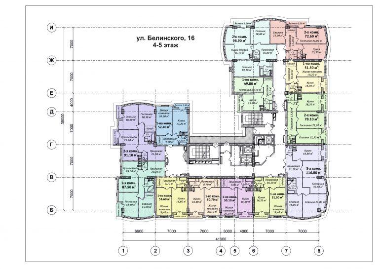 ЖК Бельэтаж план 4-5 этажа