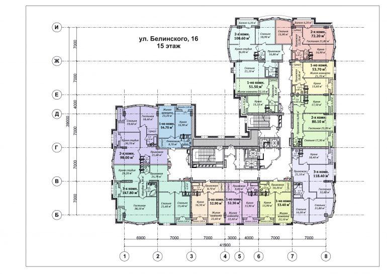 ЖК Бельэтаж план 15 этажа