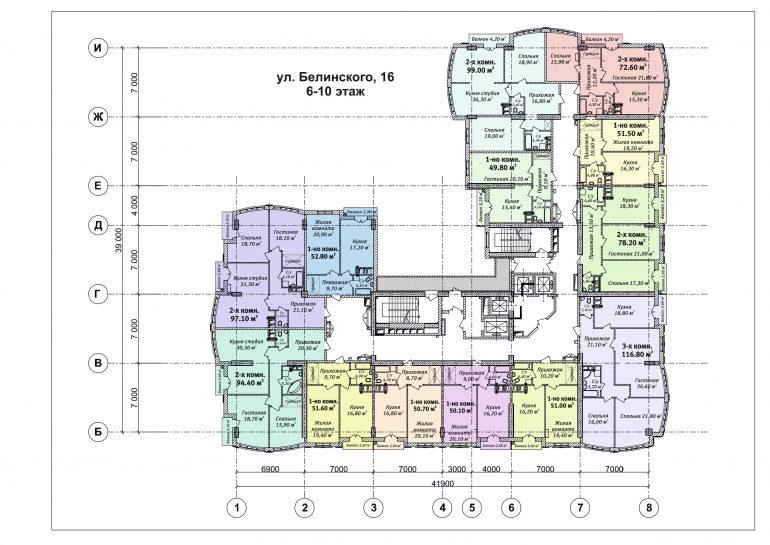 ЖК Бельэтаж план 6-10 этажа
