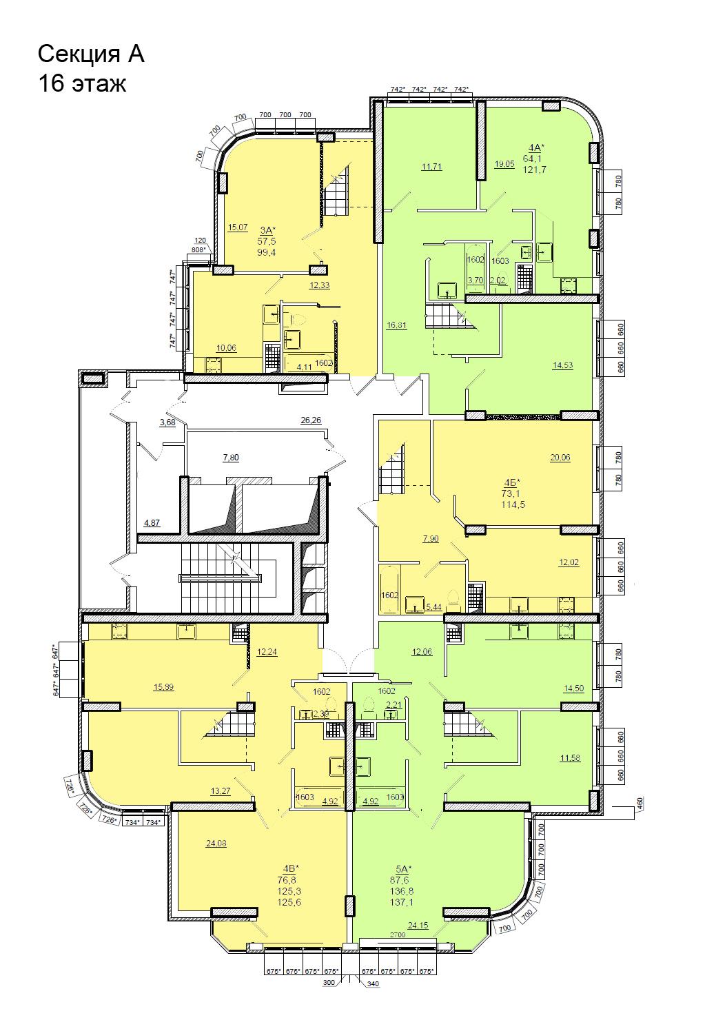 Планировки ЖК Люксембург Стикон секция А, этаж 16