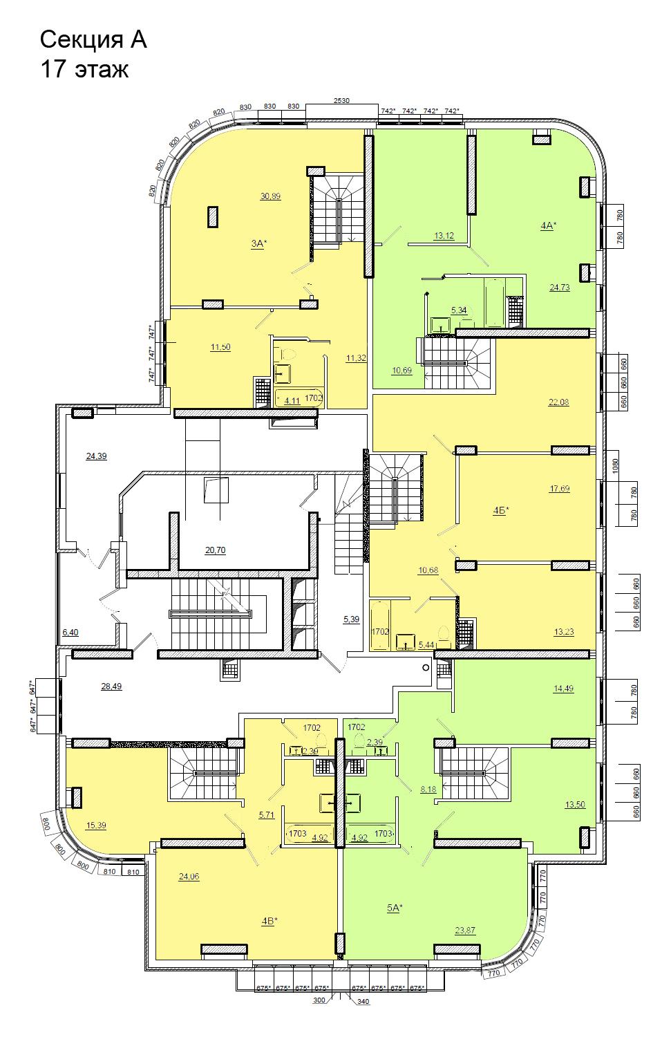 Планировки ЖК Люксембург Стикон секция А, этаж 17