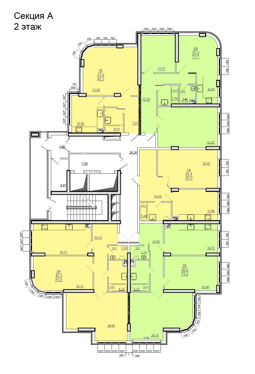 Планировки ЖК Люксембург Стикон секция А, этаж 2