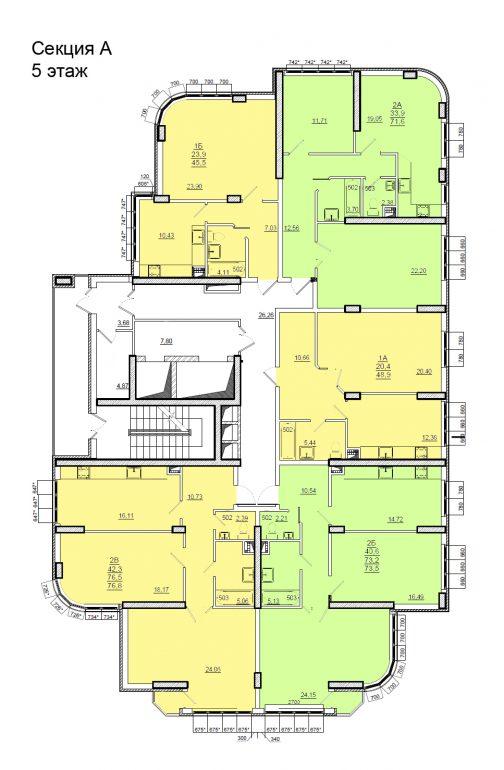 Планировки ЖК Люксембург Стикон секция А, этаж 5