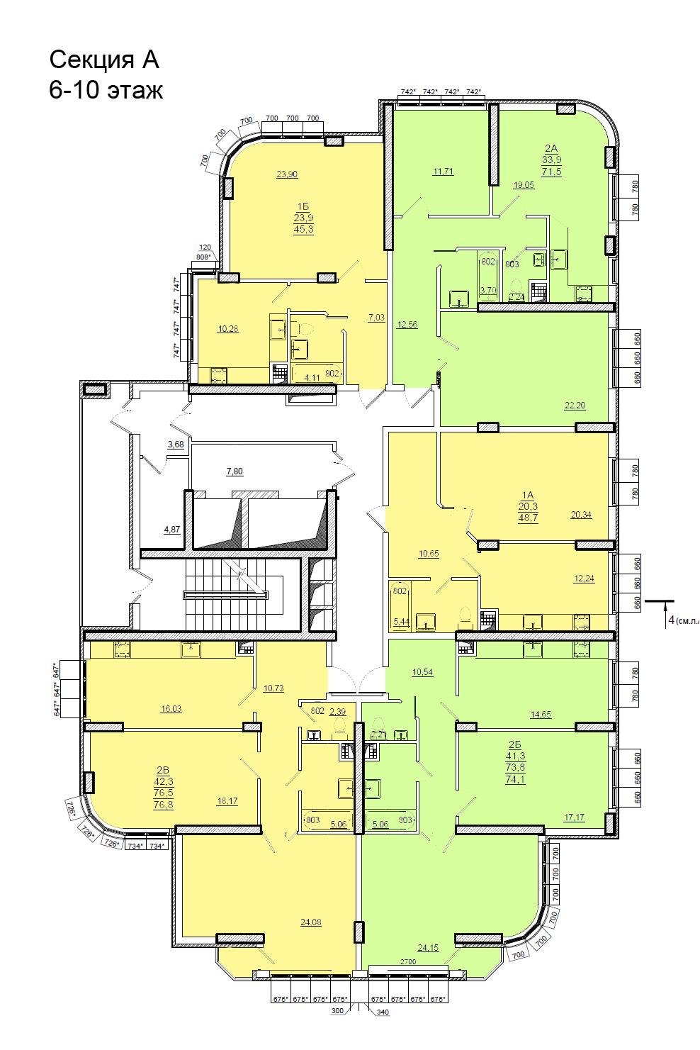 Планировки ЖК Люксембург Стикон секция А, этаж 6-10