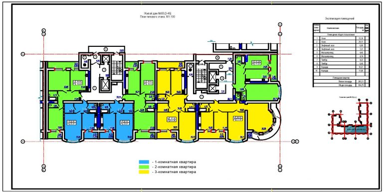 ЖК Победа планировка этажа секции 3,4