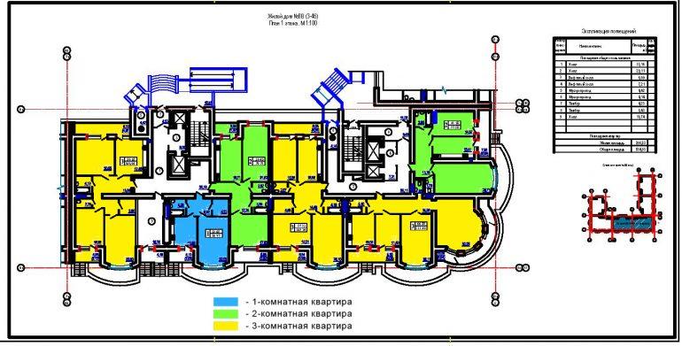 ЖК Победа планировка первого этажа секции 3,4