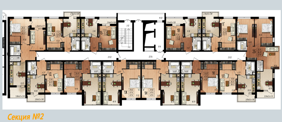 ЖК Маршал Сити планировка секции 2