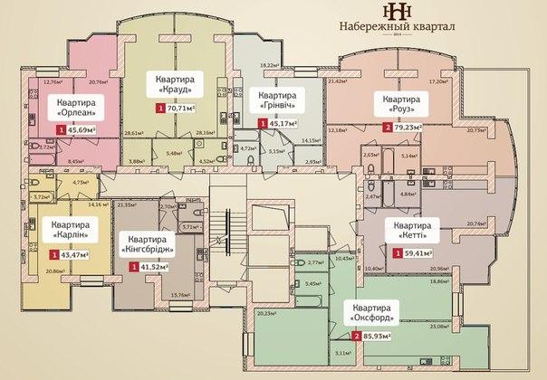 ЖК Набережный квартал крыжановка планировка 2 секции