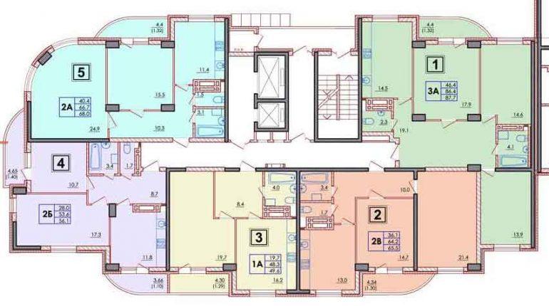 ЖК Янтарный планировка этажа