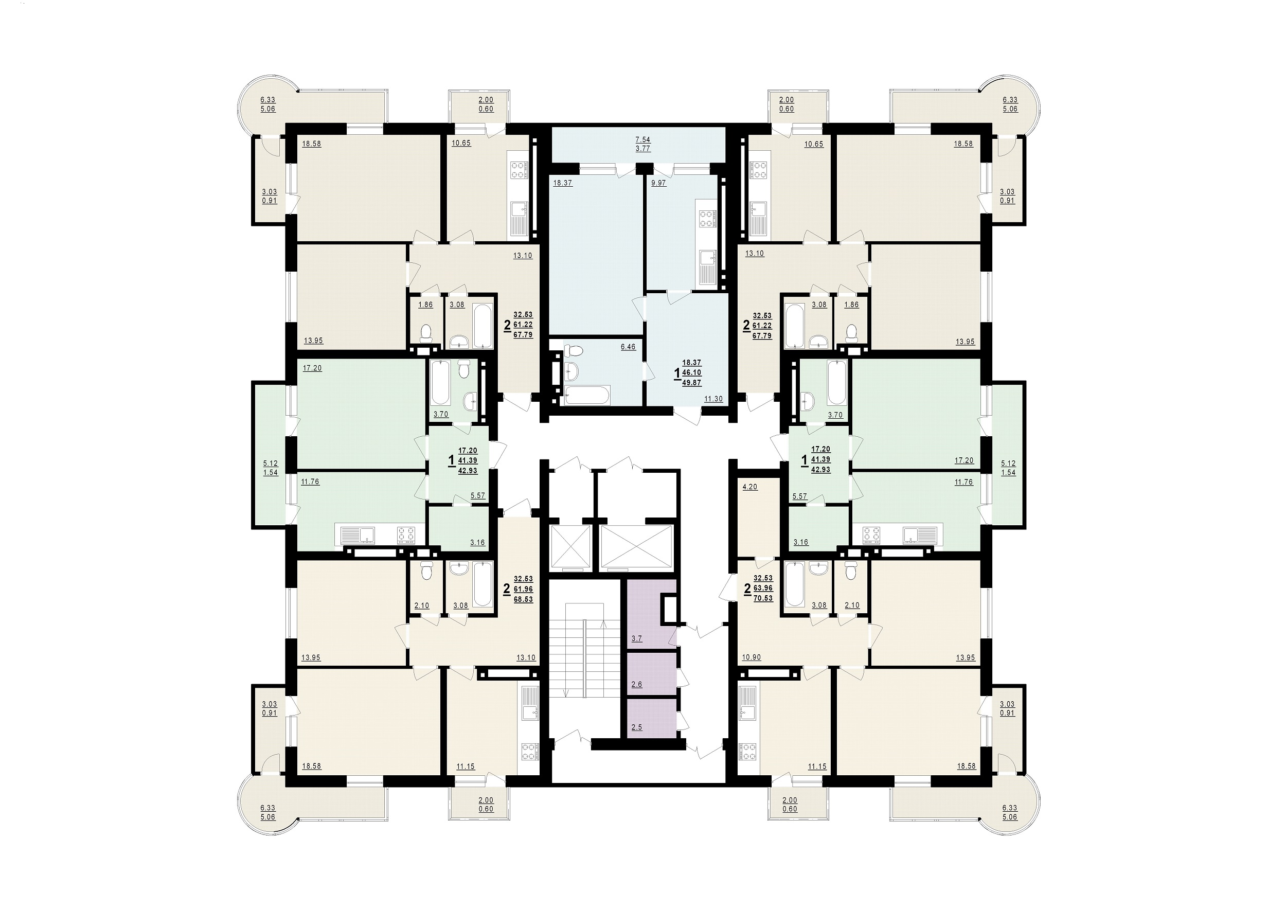 ЖК Новый маяк планировка этажа 14-19