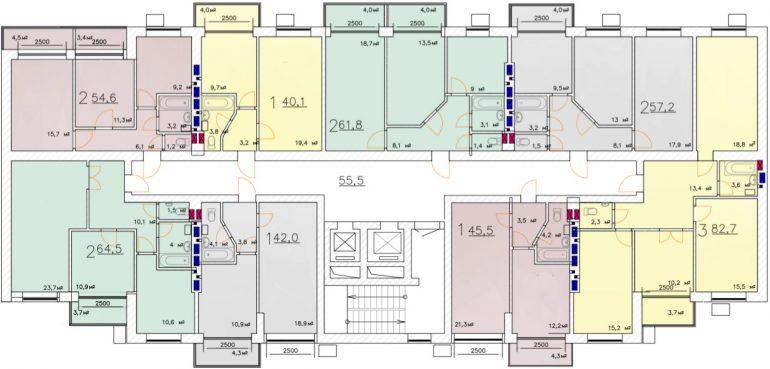 Кадорр, 11 Жемчужина, Планировка типового этажа вторая секция