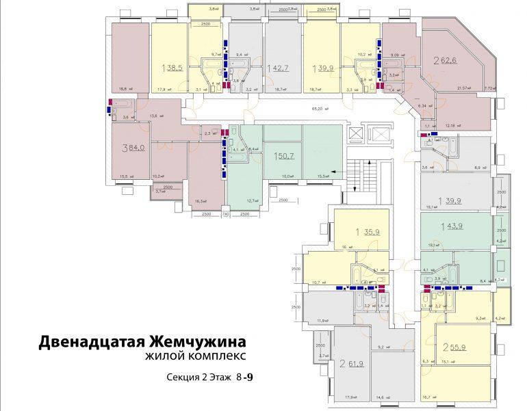 Кадорр, 12 Жемчужина, Планировка типового этажа секция 1