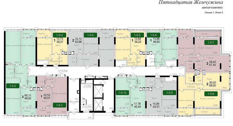 Кадорр, 15 Жемчужина, Планировка cекция 1, этаж 5