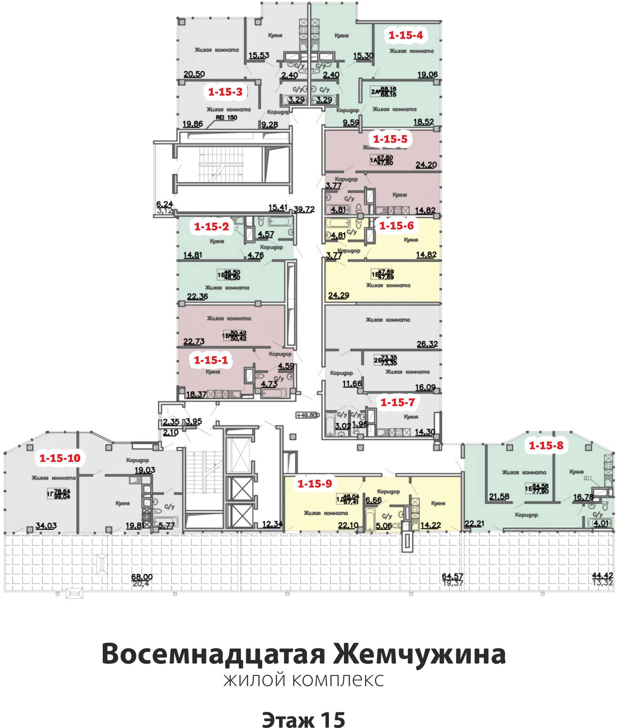 Кадорр, 18 Жемчужина, Планировка этаж 15