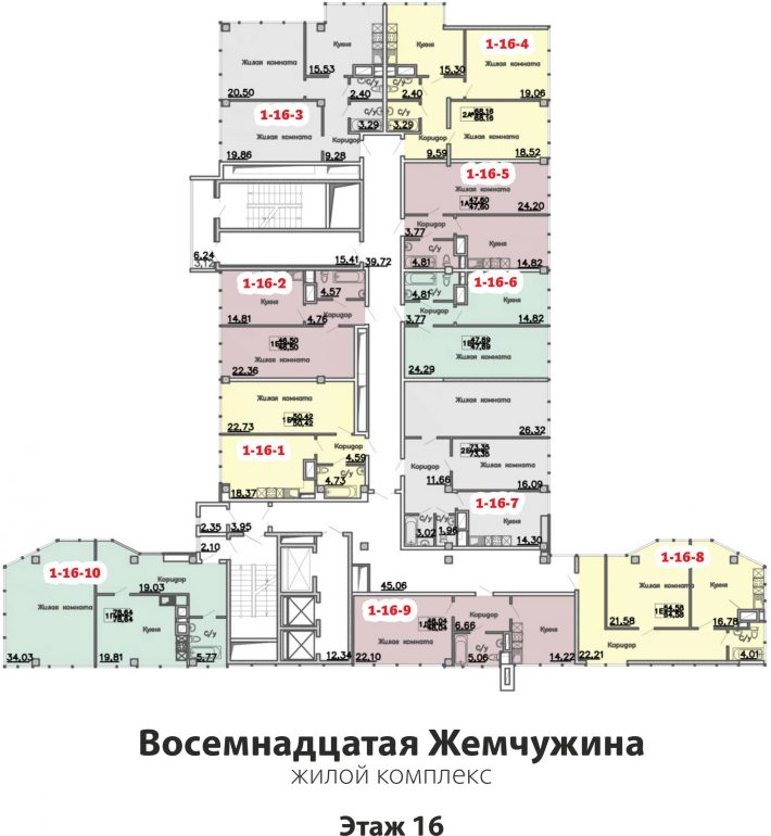 Кадорр, 18 Жемчужина, Планировка этаж 16