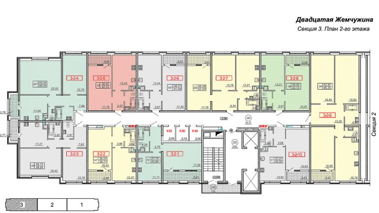 Кадорр, 20 Жемчужина, Планировка секция 3, этаж 2