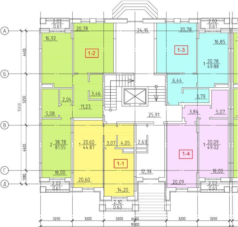 Кадорр, 23 Жемчужина, Планировка секции 1-7, этаж 1