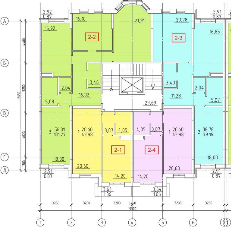 Кадорр, 23 Жемчужина, Планировка секции 1-7, этаж 2