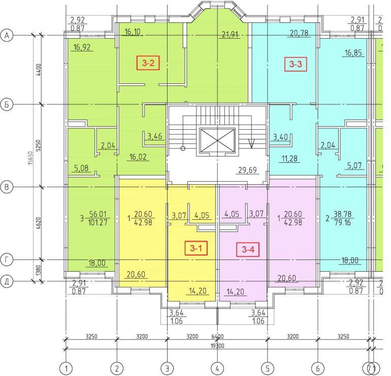 Кадорр, 23 Жемчужина, Планировка секции 1-7, этаж 3