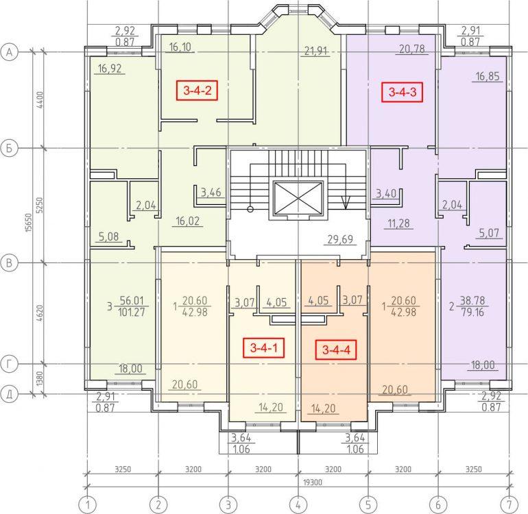 Кадорр, 23 Жемчужина, Планировка секции 1-7, этаж 4