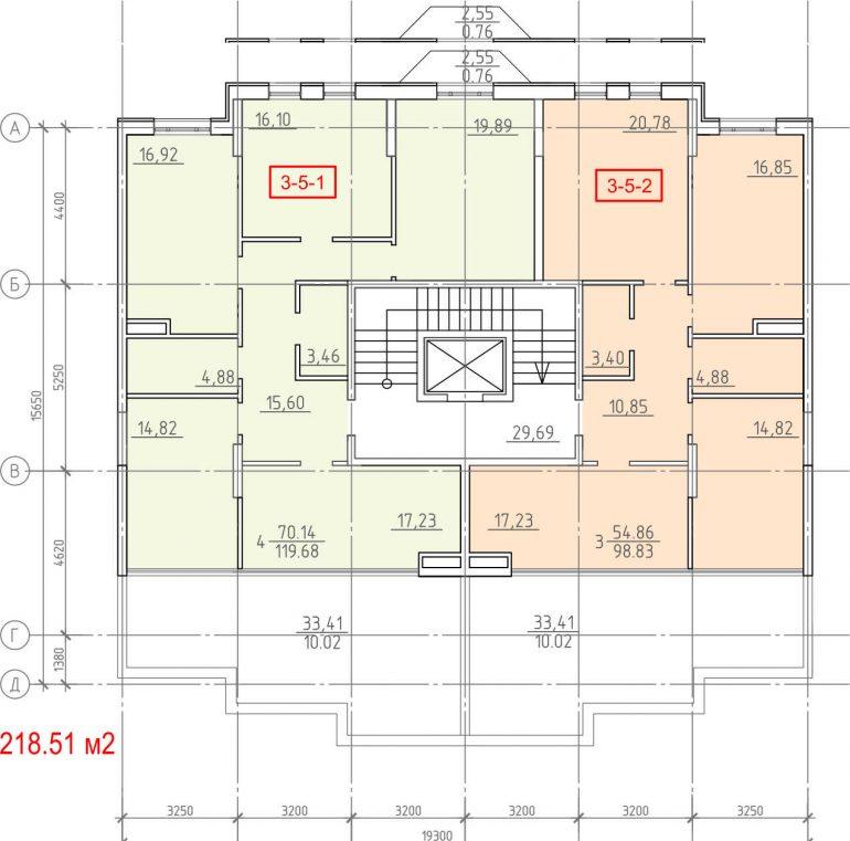 Кадорр, 23 Жемчужина, Планировка секции 1-7, этаж5
