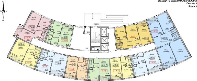 Кадорр, Жемчужина 27, Планировка секция 1, этаж 1