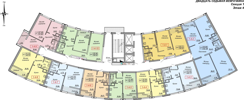 Кадорр, Жемчужина 27, Планировка секция 1, этаж 2-4