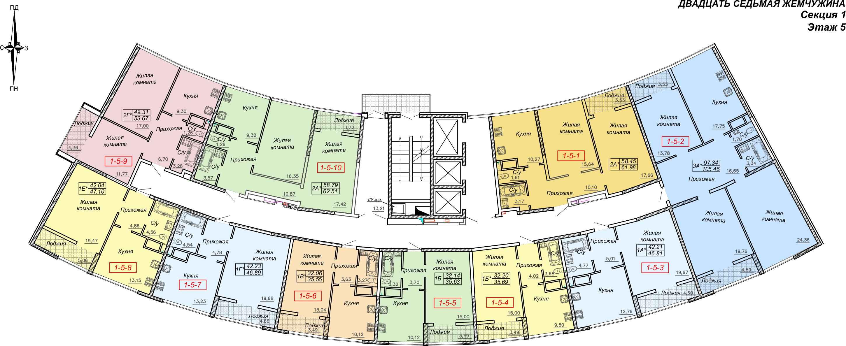 Кадорр, Жемчужина 27, Планировка секция 1, этаж 5-25