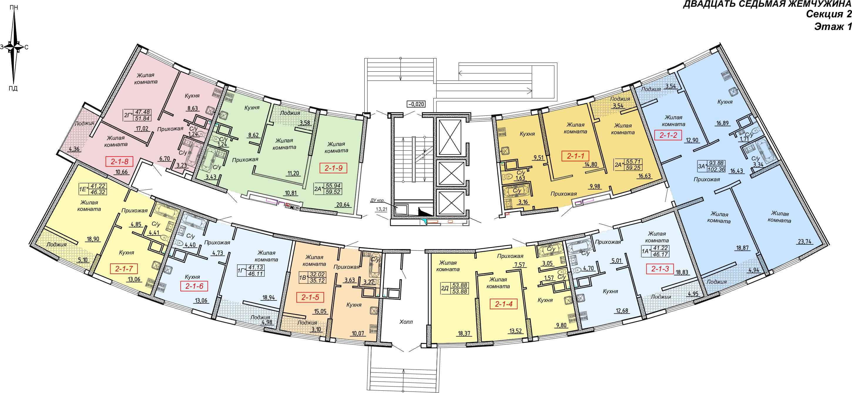 Кадорр, Жемчужина 27, Планировка секция 2, этаж 1
