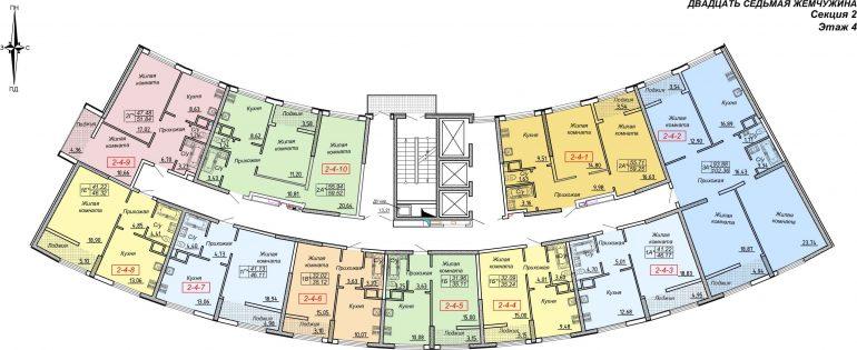 Кадорр, Жемчужина 27, Планировка секция 2, этаж 2-4