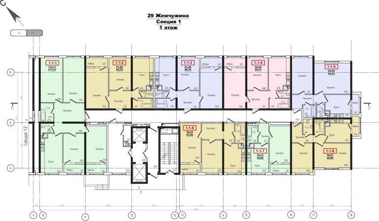 Кадорр, Жемчужина 29, Планировка секция 1, этаж 1